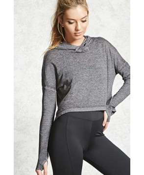 Forever 21 Active Marled Jersey Hooded Top