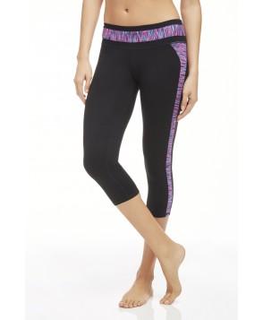 Fabletics Capri Camacan Womens Black/Pop Pink Stripe