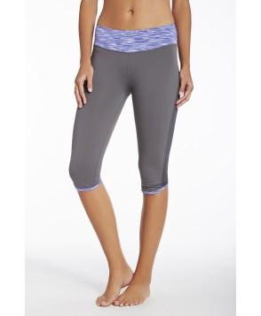 Fabletics Bottom Rio Run Crop Womens Dark Grey/Purple Stripe