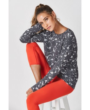 Fabletics Astrid Womens Charcoal Heather Floral Print One  Fits Most