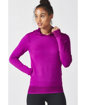 Fabletics Performance Tops Megan Seamless Pullover Womens Purple