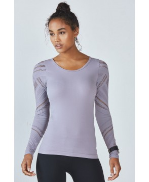 Fabletics T Shirt Isabella Seamless L/S Top Womens Gray
