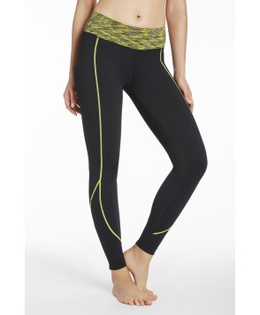 Fabletics Leggings Zipper Legging Womens Black/Yellow