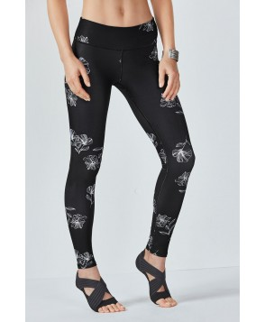 Fabletics Leggings Salar Legging Womens Black Stencil Flower Print