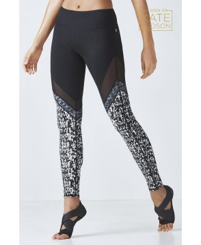 Fabletics Leggings Brogan Mesh Legging Womens Black/Tonal Confetti Print/Dark Grey Print