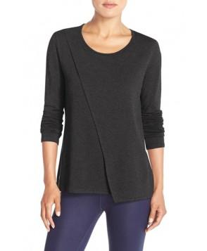 Alo 'Kira' Asymmetrical Long Sleeve Top,  - Grey