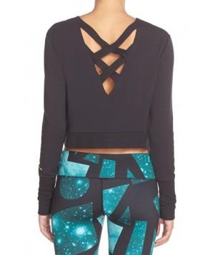 Alo 'Ava' Cross Back Crop Sweater,  - Black
