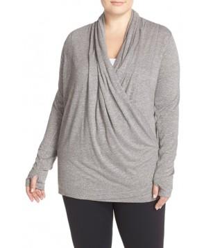 Plus Size Zella 'Enlighten Me' Wrap Cardigan, X - Grey
