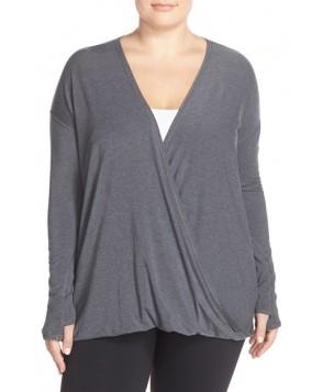 Plus Size Zella 'Savoy' Wrap Front Top,  - Grey
