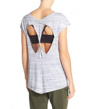 Zella 'Peeka' Short Sleeve Twist Back Tee,  - Grey