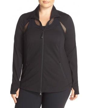 Plus Size Zella 'Olimpico' Mesh Inset Jacket,  - Black