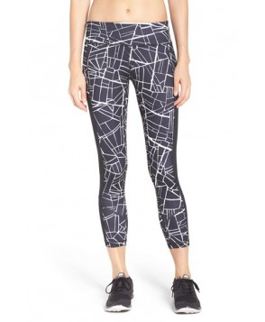 Zella Fly By Print Running Midi Tights -Small - Black