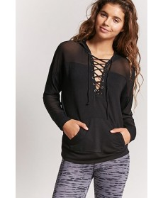 Forever 21  Active Mesh-Panel Lace-Up Hoodie