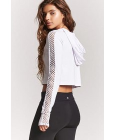Forever 21 Active Mesh-Sleeve Hooded Top