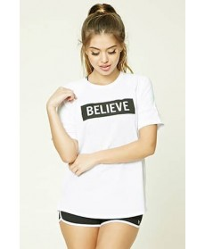 Forever 21 Active Believe Graphic Top