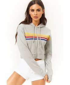 Forever 21  Active Rainbow-Striped Zip-Up Hoodie