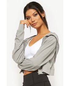 Forever 21  Active Cropped Zip-Front Hoodie