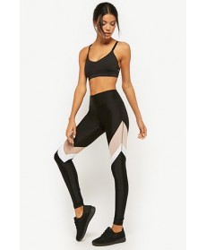 Forever 21  Active Colorblock Mesh Panel Leggings