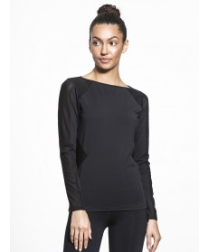 Carbon38 Body Con Mesh Panel Long Sleeve T
