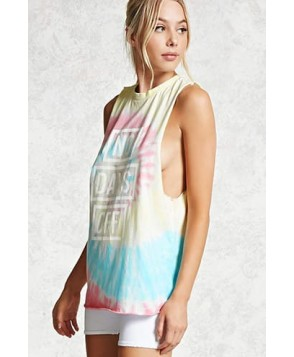 Forever 21 Active No Days Off Tie-Dye Top