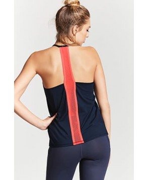 Forever 21 Active Contrast Mesh-Back Tank Top