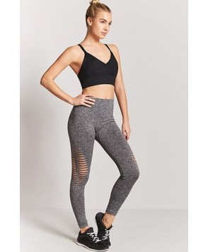 Forever 21  Active Ladder-Cutout Marled Leggings