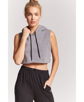 Forever 21 Active Hooded Crop Top
