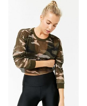 Forever 21 Active Mesh Camo Top