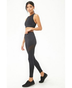 Forever 21  Active Sheer Mesh Panel Leggings