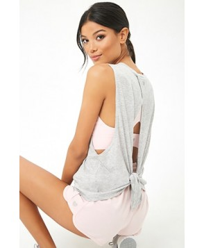 Forever 21  Active Marled Tie-Back Muscle Tee