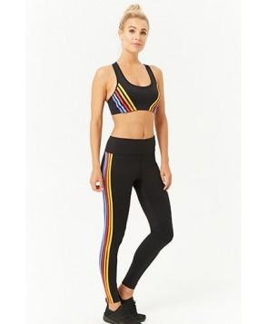 Forever 21  Active Rainbow-Striped Leggings