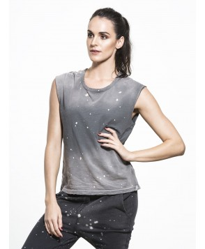 Carbon38 Sleeveless Tee with Cutouts