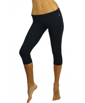 Balance Fit Wear Black Foldover Capri