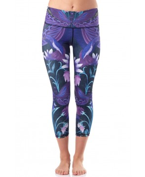 Yoga Democracy Dragonfly Orchid Cropped Legging