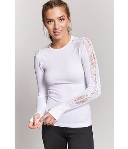 Forever 21 Active Ribbed Open-Knit Top