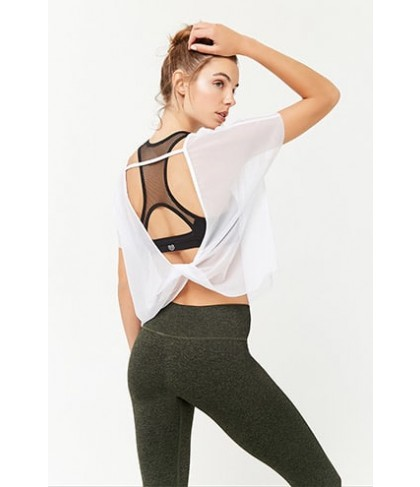 Forever 21 Active Sheer Mesh Twist-Back Top