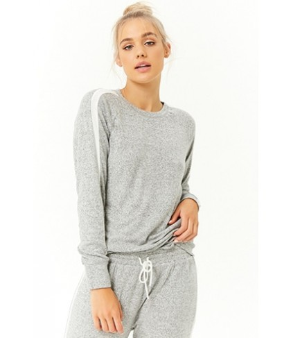 Forever 21  Active Striped-Trim Marled Knit Top