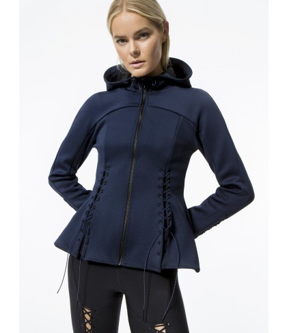 Carbon38 Molded Peplum Jacket with Lace Up